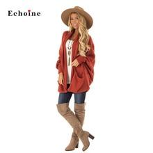 Echoine Women Sweater Thick Knit Cardigan Long Batwing Sleeve Patch Pocket Stylish Loose Outwear Highstreet Jumper Female Outfit stylish open front batwing sleeve fringed women s kimono