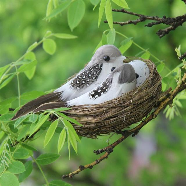 Décoration de pâques pour la maison   8 pièces, ornement de nid doiseau artificiel, modèle doiseau, Set dœufs de nid