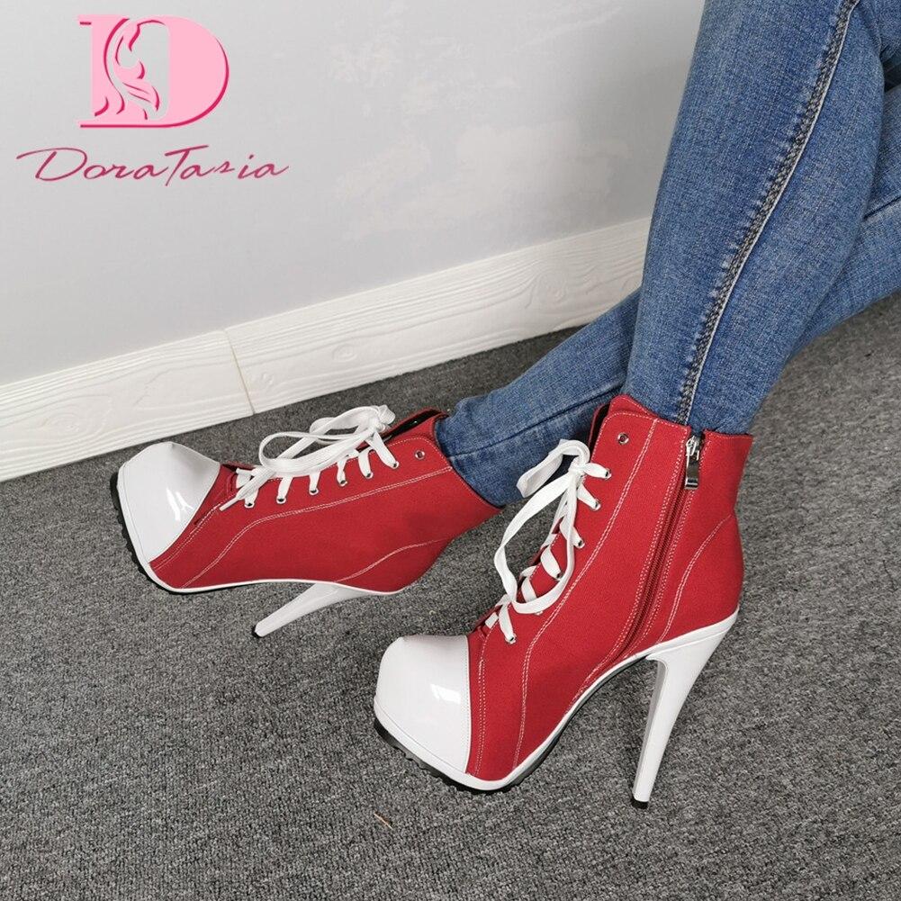 Doratasia nouveau design 2020 grande taille 47 Super talons hauts bottines femme chaussures fermeture éclair plate-forme mélange couleur chaussures femmes bottes