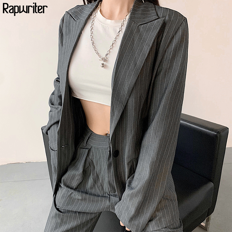 Rapwriter Streetwear Striped Blazer And Straight High Waist Suit Pant Two Piece Suit Set Women Outfits 2020 Trend Clothes Female