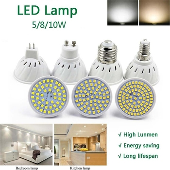 Led Bulb Light Cup floodlight 5W 8W 10W Lamp GU10 E27 E14 MR16 Spotlight SMD 2835 Chips Beads Energy saving AC 220V image