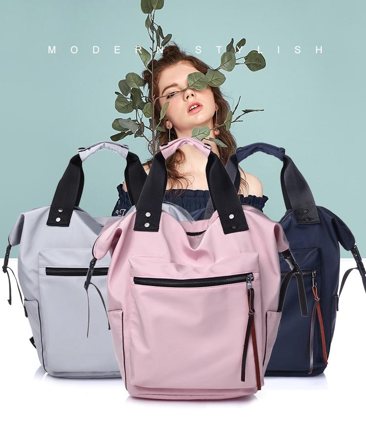 H5b1262df6c434b7d8404c88bf01c85bcG Casual Nylon Waterproof Backpack Women High Capacity Travel Book Bags for Teenage Girls Students Pink Satchel Mochila Bolsa 2019