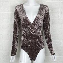 Women Bodysuit Sexy Deep V-neck Tops Autumn Streetwear Elegant Long Sleeve Jumpsuit Female Velour Body Mujer D35