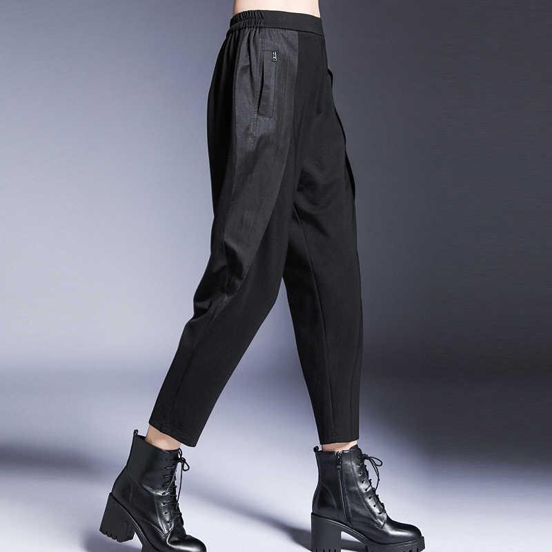 [EAM] высокая эластичная талия молния карман брюки новые свободные подходят шаровары женские модные Универсальные весенние осенние 2019 1A039