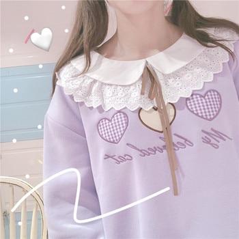 Women Sweatshirt Girls three colors Lace Plus velvet Hoodies Love Embroidery Tied Soft Sister Loose Autumn Doll Collar Jumper grommet detail tied open sleeve sweatshirt