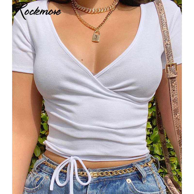 Rockmore Ribbed Deep V-Neck Sexy Skinny Tshirts Women Solid Crop Top Short Sleeve Summer Criss Cross Bandage Basic Shirts Casual