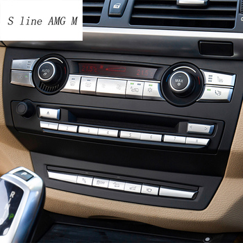 Car Styling Air Conditioner CD panel Button Sequin Decoration Cover Trim Stickers For BMW X5 X6 E70 E71 E72 Interior Accessories image