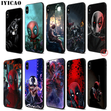 IYICAO MARVEL deadpool venom Soft Black Silicone Case for iPhone 11 Pro Xr Xs Max X or 10 8 7 6 6S Plus 5 5S SE