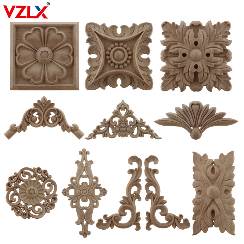 VZLX Wood Applique Onlay Decal Figurines Wooden Carved Decor Unpainted Large Crown Leaves Oval Flower Furniture Doors Home