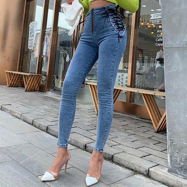 узкие джинсы с высокой талией женские узкие брюки в европейском фотография