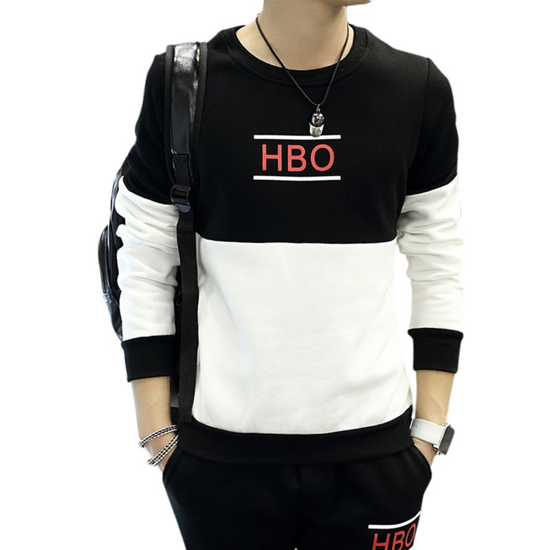 *Men Fashion Round Collar Autumn Letter Tops Print Color Matching Loose Long Sleeve Casual Simple Wild T-Shirt