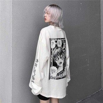 NiceMix Cartoon Horror Graphic T-shirt Women Character Print Loose Punk Japanese T Shirts Pullover Top Harajuku Street Tees t shirt clothes for women cartoon t shirt women t shirts harajuku ricky n morty t shirt graphic t shirt top trendy t shirt woman