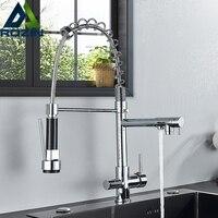 Rozin filtr oczyszczanie woda kuchnia kran 3 kolory czysta woda baterie kuchenne Pull Down dysza kran z ciepłą i zimną wodą z kranu