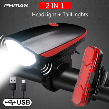 PHMAX Bicycle Light Set Waterproof MTB Bike Horn Light USB Rechargeable Solar LED Headlight Safety Warning Cycling Taillight