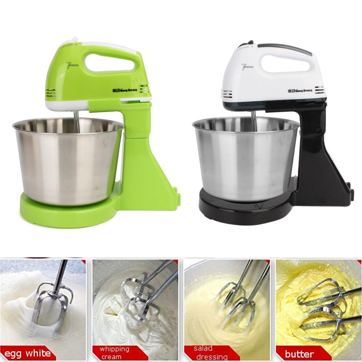 7 Speed Egg Beater Electric Kitchen Food Mixer Table &Stand Cake Dough Mixer Handheld Blender Baking Whipping Cream Machine