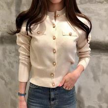 Lucyever Fashion damski sweter rozpinany wiosna dzianinowy z długim rękawem krótki płaszcz Casual jednorzędowy koreański Slim Chic Top damski tanie tanio Akrylowe CN (pochodzenie) Wiosna jesień Acrylic Mieszkanie dzianiny Stałe REGULAR MANDARIN COLLAR Cardigans N216 Pełna