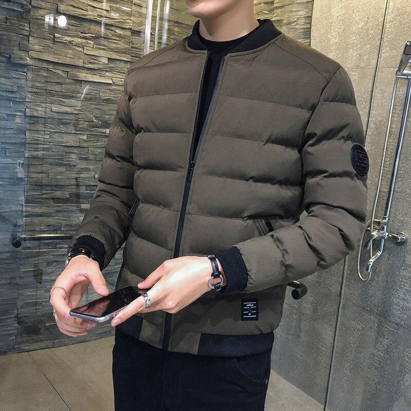 MEN'S Coat Winter 2019 Trend New Style Plus Velvet Cotton Coat Thick Short Korean-style Slim Fit Cotton-padded Jacket Down Feath
