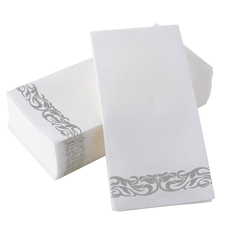 Linen Like Napkin With Silver Floral Wine Pattern For Decorative Napkins Suitable For Kitchen, Bathroom, Wedding Or Event