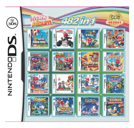 482 Games In 1 NDS Game Pack Card Mario Album Video Game Cartridge Console Card Compilation For DS 2DS 3DS New3DS XL