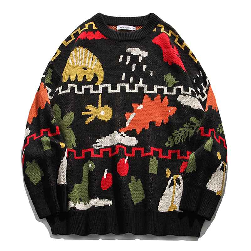 Mens Christmas Knitted Sweaters Streetwear 2020 Winter Women HipHop Unisex Casual Vintage Loose Couple Oversize Pullover Sweater