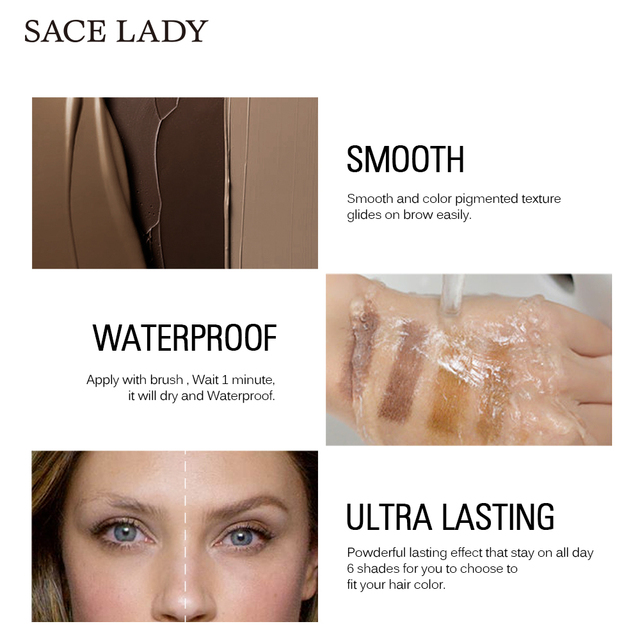 SACE LADY Waterproof Eyebrow Gel Makeup Henna Shade For Eye Brow Tint Natural Enhancer Make Up Cream Long Lasting Brand Cosmetic 4