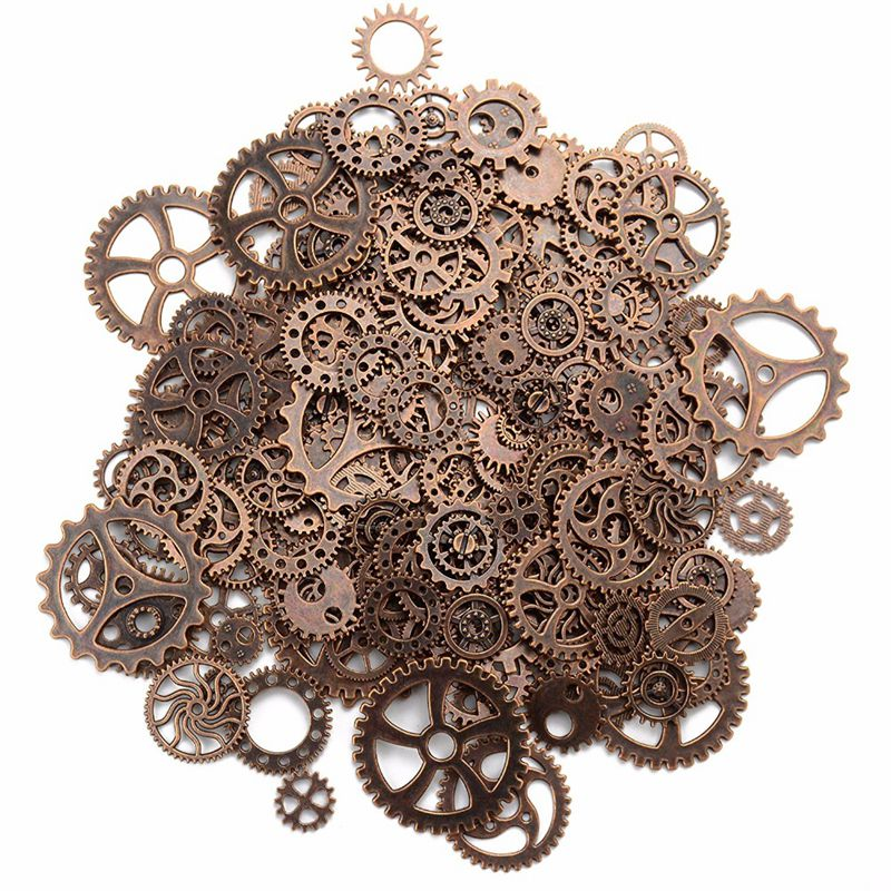 About 120g/lot DIY Jewelry Making Vintage Metal Mixed Gears Steampunk Gear Pendant Charms Bracelet Accessories(Ancient Red Coppe