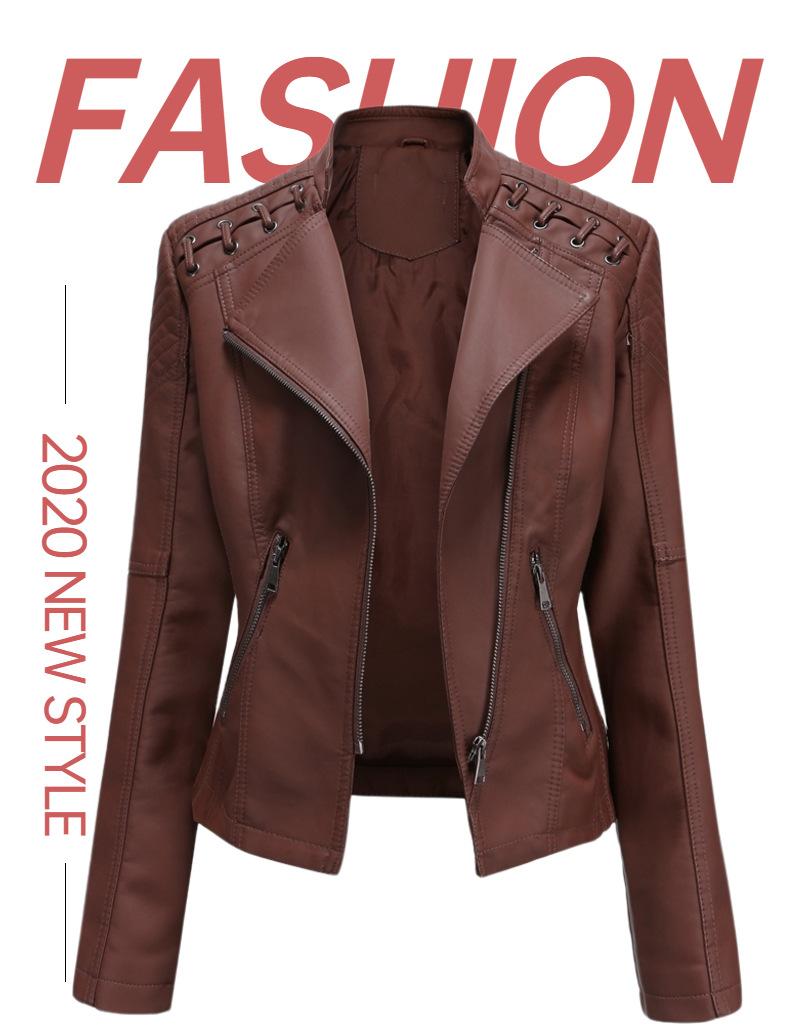 Куртка женская Байкерская облегающая из искусственной кожи на