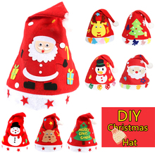 DIY Felt Craft Christmas Hat 4 Theme of Santa Claus Snowman Elk Tree Handmade Material Package For kids Gift