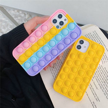 For iPhone 12 Pro Max 11 6s 7 8P XS XR X Case Cover Reliver Stress Pop Fidget Toys Push Bubble Antistress Sensory Game Adult Kid