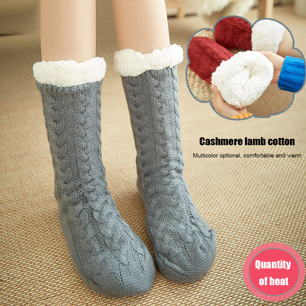 1Pair Warm Ultra-Plush Slipper Socks Thick Anti Slip Indoor Floor Ankle Sock H66
