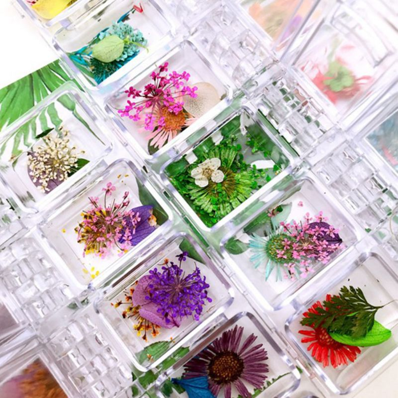 12Grid/Box Crystal Epoxy Filler Dry Flower Mixed Nail Stickers Decorations Resin Filling Material Craft Art Accessories