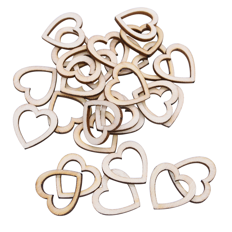 100pcs 15/20/25/30mm Hollow Heart Shape Wood For Scrapbooking Handmade DIY Carfts WoodenEmbellishment Home Decor Ornament