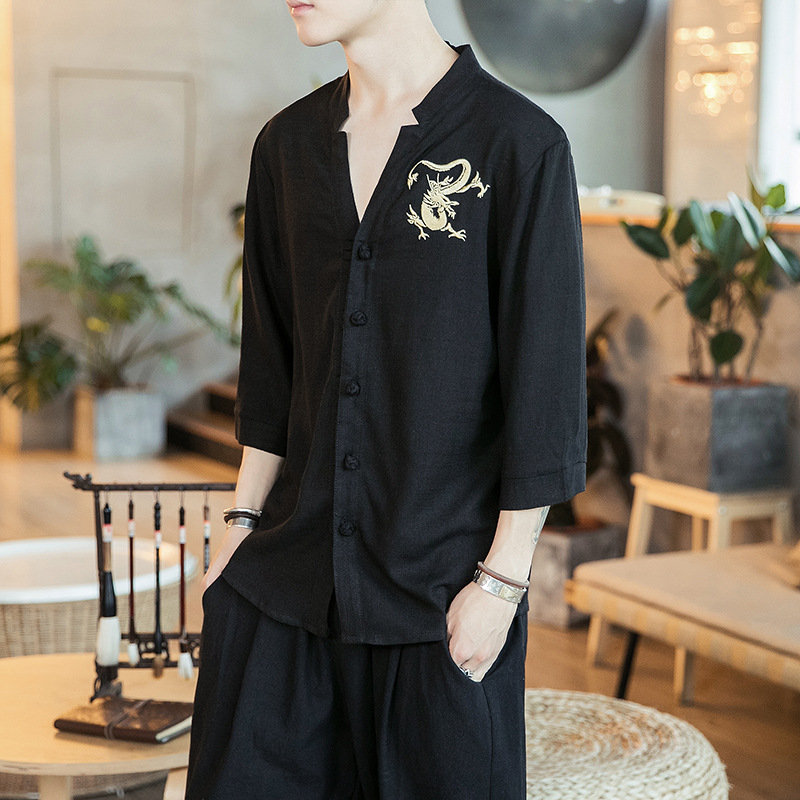 Three Quarter Sleeve Shirt MEN'S Short Sleeve Summer Linen Shirt Casual Embroidered Chinese-style Chinese Costume On Clothes Lo