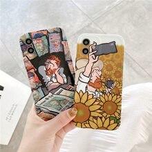 Coque de téléphone portable avec Les Tournesols, Vincent Willem van Gogh, pour iPhone 7 8 Plus 12 11 Pro X XS Max XR