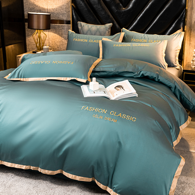 High-end quality Egyptian cotton bedding set embroidered satin light luxury quilt cover duvet cover bed sheet pillowcases 5