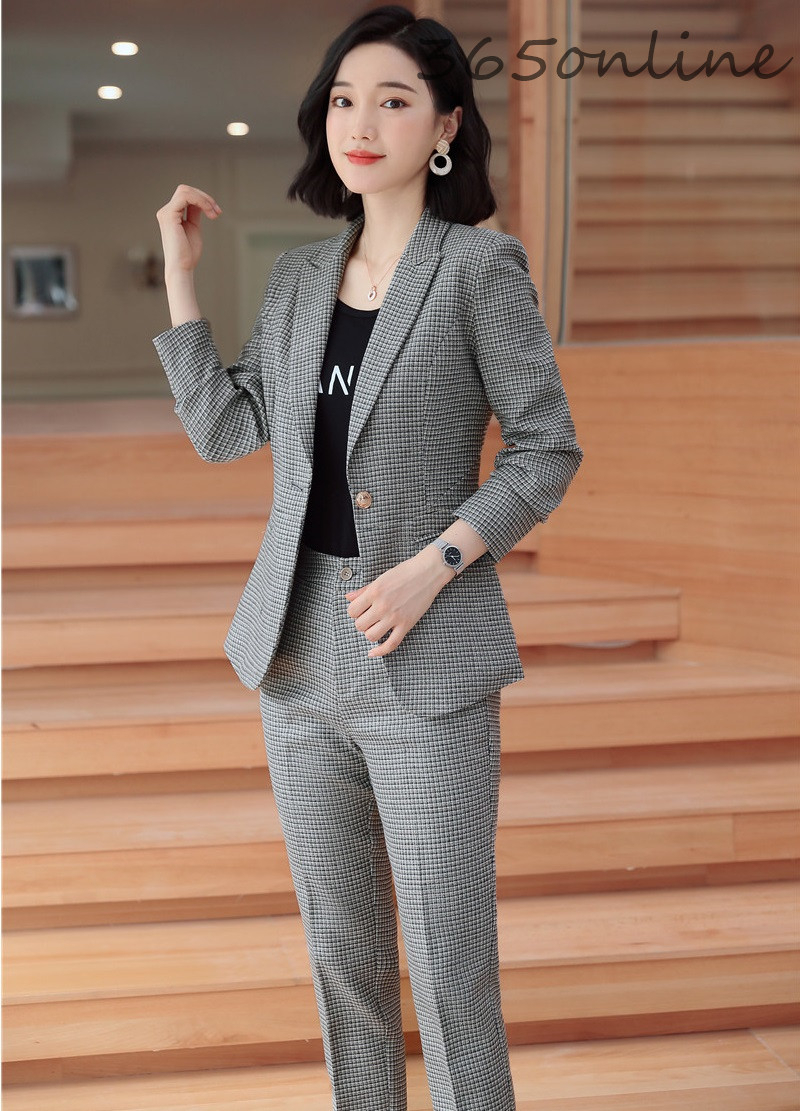 Novedad Gris Formal Mujer Negocios Trabajo Trajes Con Pantalones Y Chaquetas Abrigo Para Oficina Senoras Profesional Ol Estilos Conjunto Trajes De Pantalon Aliexpress