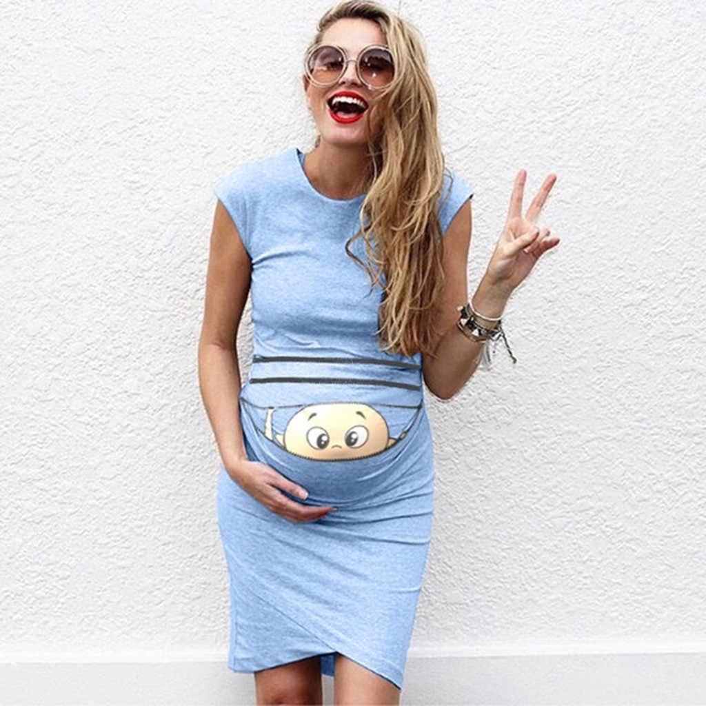 Kadın hamile elbisesi kolsuz gebelik elbise karikatür mektup baskı elbise yaratıcı hamile kadınlar elbiseler hamile elbiseleri