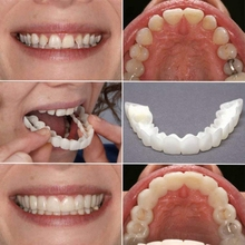 1 Pair Cosmetic Teeth, Bright White Shade, Comfortable Upper and Lower Veneer, 1 Size Fits Most