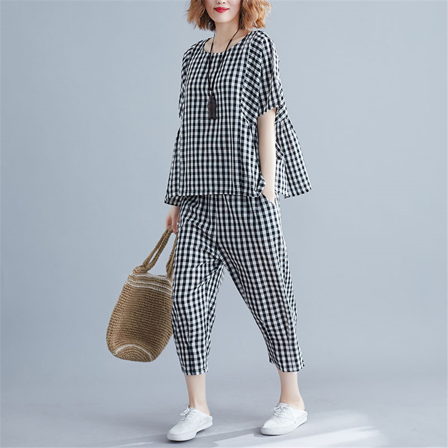 2020 2 Piece Sets Tracksuits Women Plus Size Plaid Short Sleeve T-shirts And Pants Casual Fashion Sport Suits 5XL
