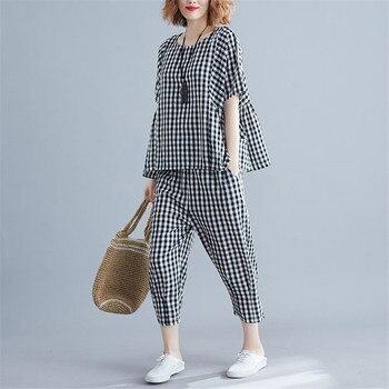 Conjuntos de 2 piezas 2020, chándales de talla grande para mujer, camisetas de manga corta a cuadros y pantalones, trajes deportivos informales de moda 5XL