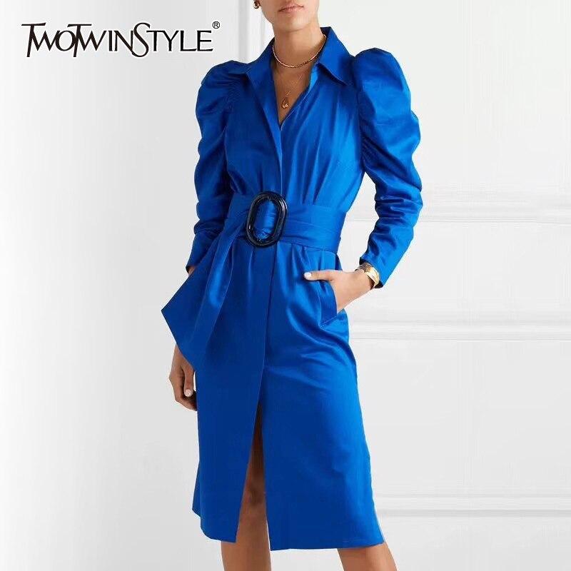 TWOTWINSTYLE Solid Elegant Shirt Dress Women Lapel Collar Puff Sleeve High Waist Lace Up Long Summer Dresses Female 2019 Tide