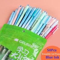 50 шт./упак. RUIXIANG стираемые Гелевые Ручки корейский Kawaii канцелярские 0 5 мм иглы наконечник синие чернила нейтральная ручка для школьные прина...