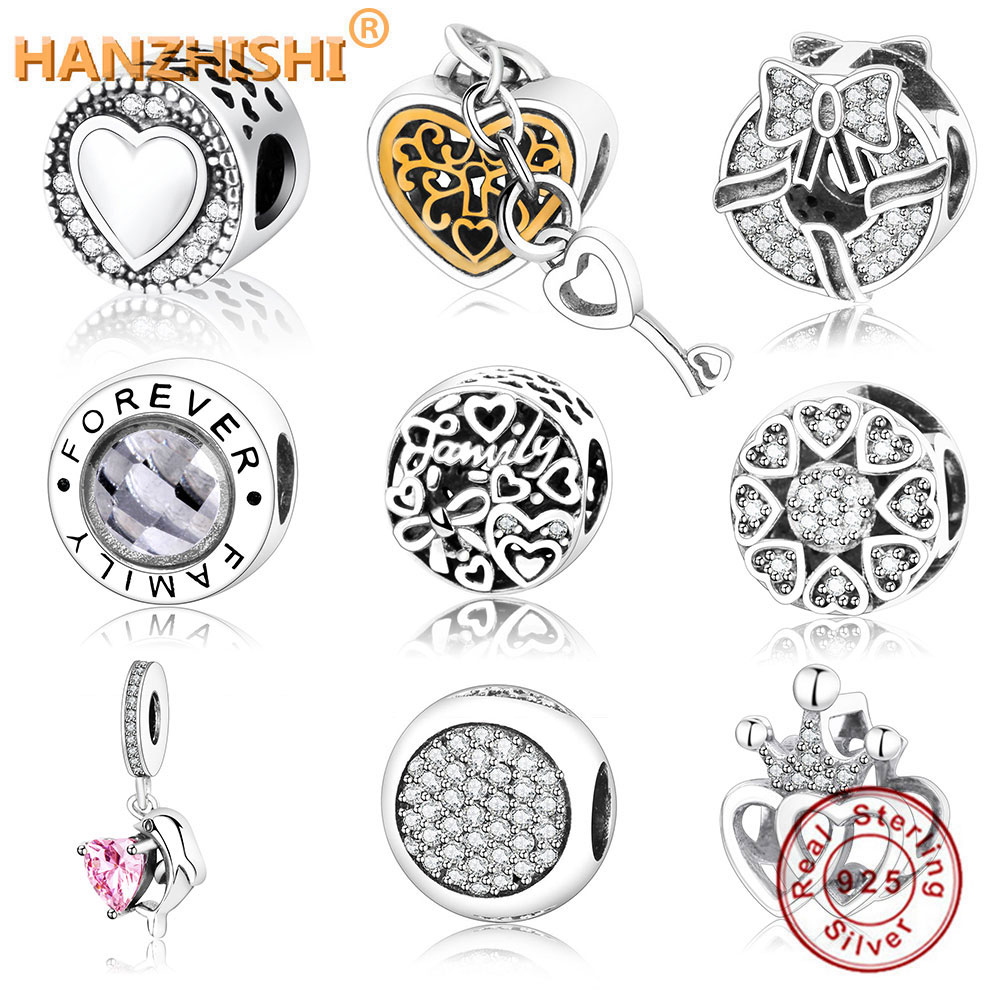 New Arrive Authentic 925 Sterling Silver Charm Fit Original Fine Charm Bracelet Heart In Round Factory Price DIY Jewelry Bead(China)