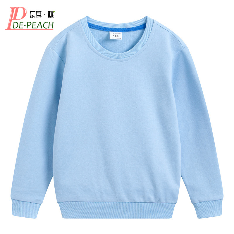 DE PEACH Autumn Cotton Children Loose Casual Sweatshirt Baby Boys Girls Pullover Shirts Teenager Kids Solid Color Bottoming Tops