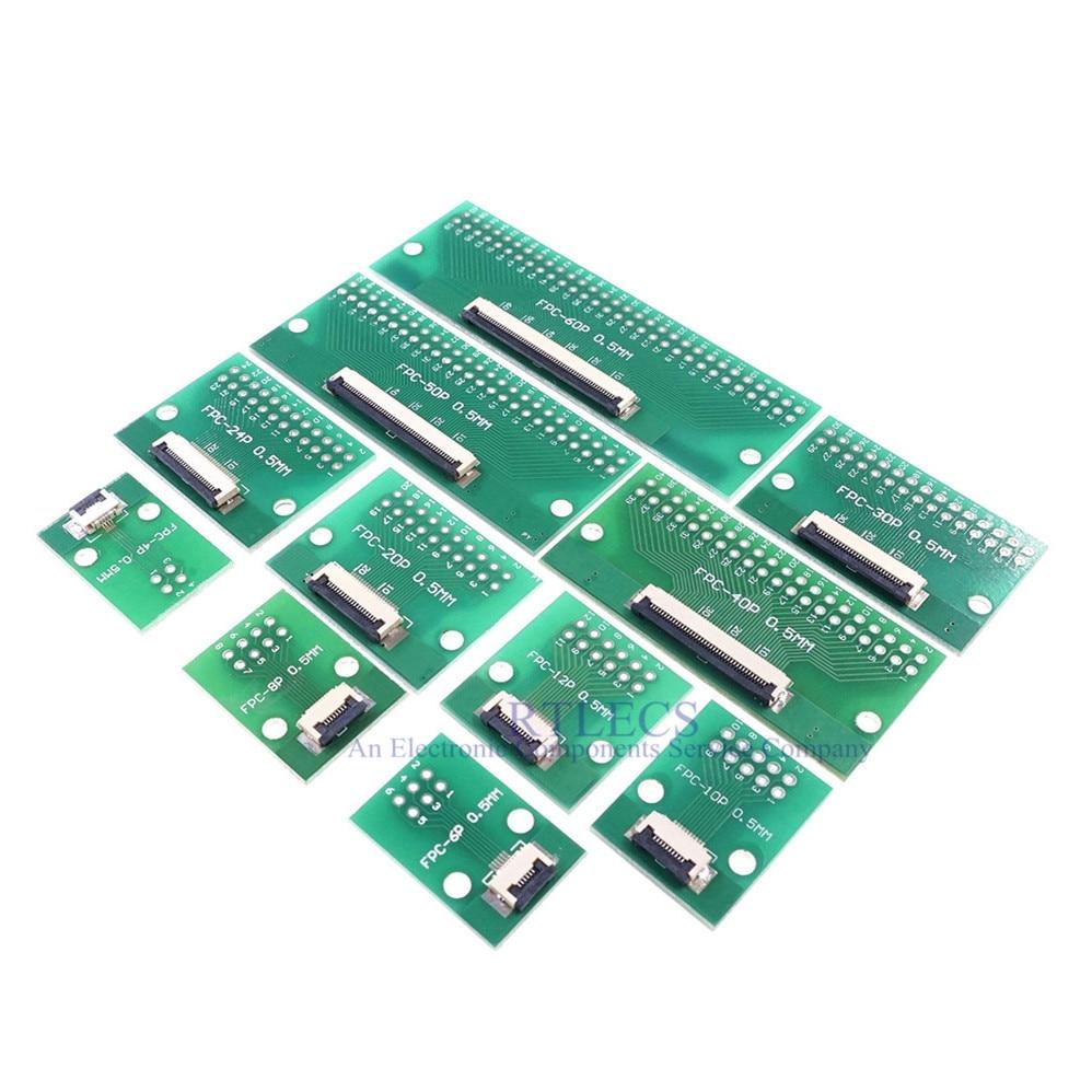 FPC FFC кабель, 2 шт., 4 6 8 10 12 14 15 20 30 40 50 60 Pin 0,5 мм, шаг, переходник на 2,54 мм 1,0