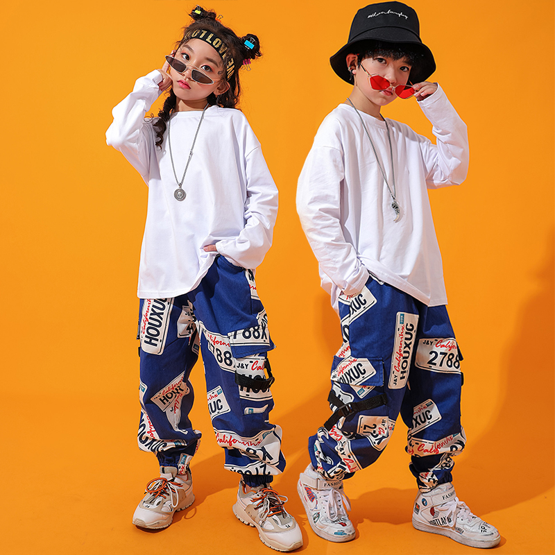 Jazz Dance Costume Kids Loose Hiphop Street Dance Rave Outfit Children Stage Performance Clothing  Practice Clothes DC2757