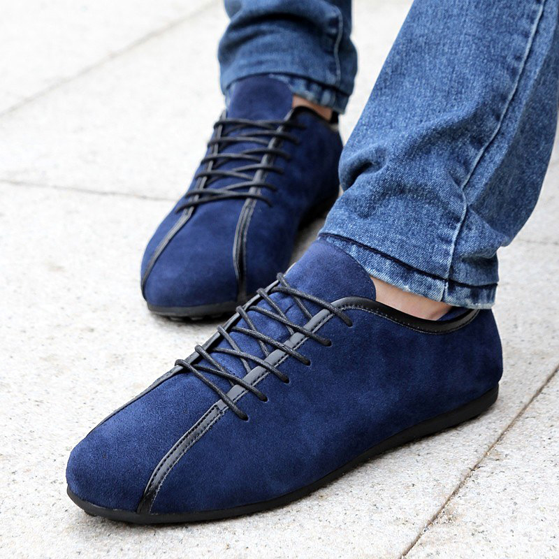 2020 Spring Men Suede Sneakers Casual Shoes New Fashion Lace Up Male Flat Comfortable Blue Man Leather Soft Shoes