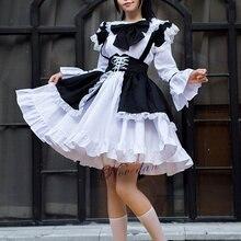 Мужские и женские наряд горничной секси аниме черный белый цвет