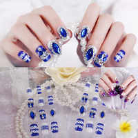 24Pcs/Set Fake Nails Press on Girls Finger Beauty False Nail Art Tips Bright Shining 3D Diamond Full Cover French Nail Art Tips