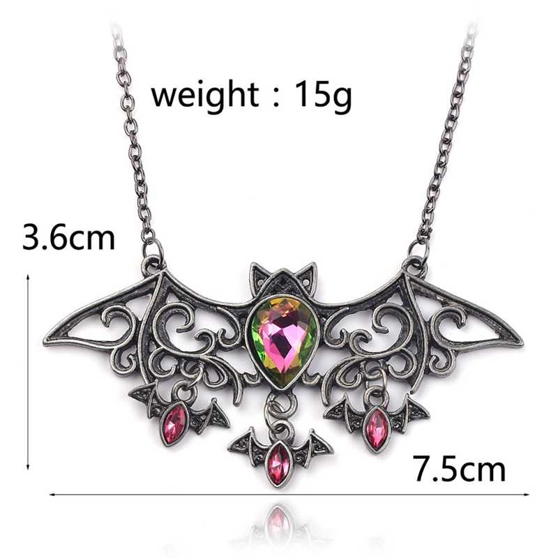 New Retro Bat Necklace Vampire Rhinestone Pendant Shiny Bat Necklace Black Gift Christmas Halloween Gift Wholesale
